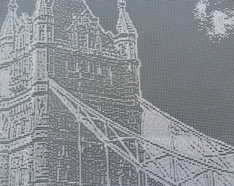 "Tower Bridge, London, England Lace Picture 16""x24"" (40x60cm) approx, London in Lace Collection Produced in Nottingham, England 100%Polyester"