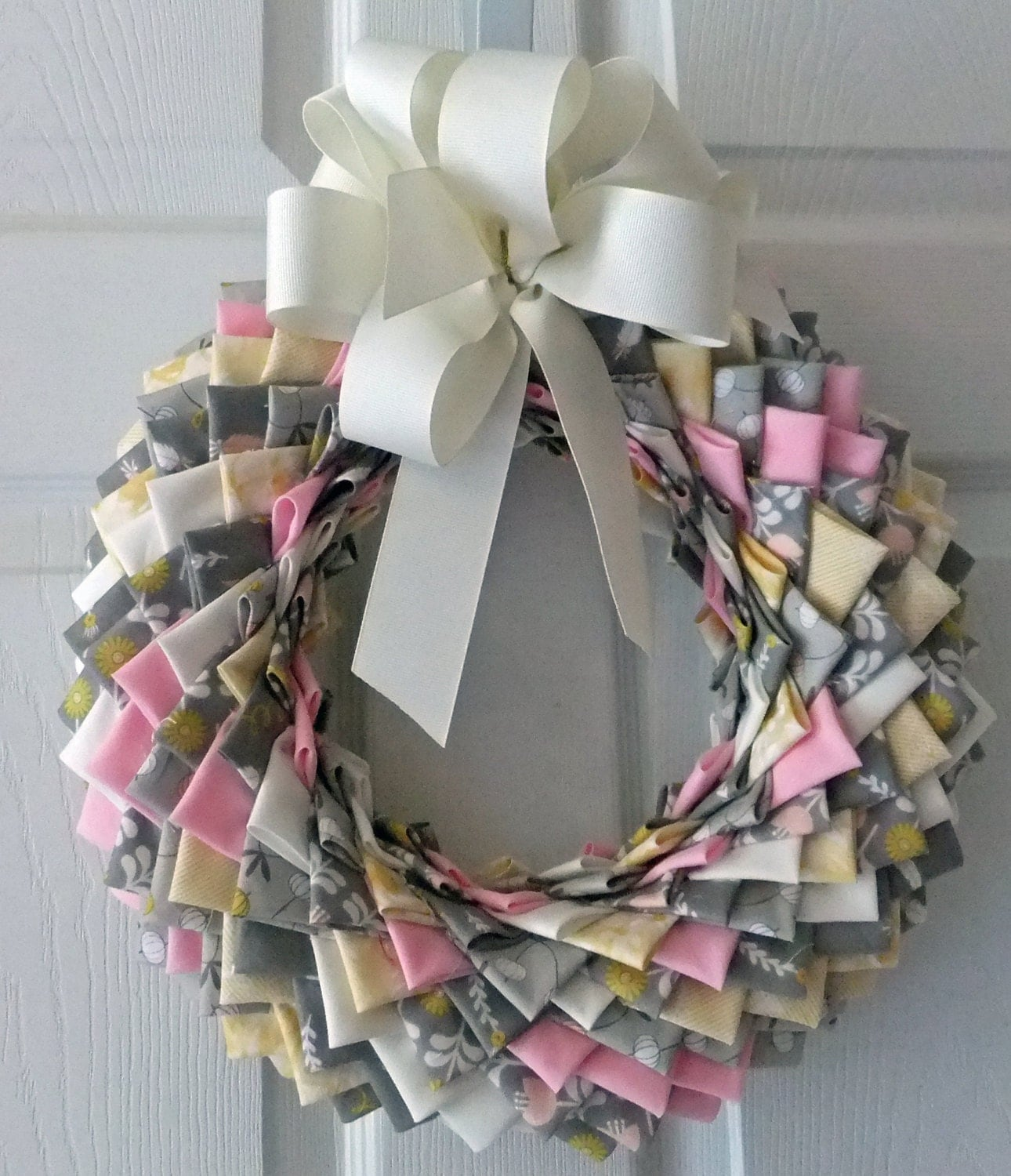 Folded Fabric Christmas Tree: Folded Fabric Wreath Quilted Wreath Welcome By