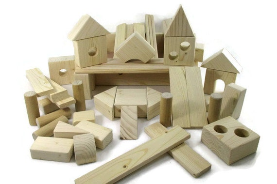 Wooden building block toys for children