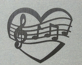 Heart with Music Notes Wall Art Decor Sign