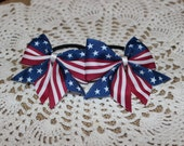 American Flag Pigtail Bows