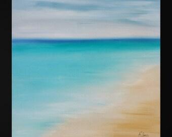 "Oil painting seascape Abstract beach art Seascape painting Florida beach Caribbean blue abstract ocean painting Original art work 14x14"""