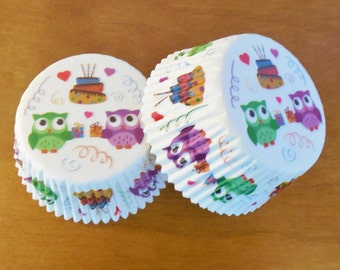 SALE!! Adorable Owl Party Cupcake Liners Sets of 25