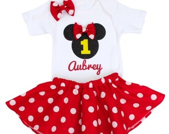 Minnie Mouse Birthday Outfit, Girls Birthday Outfit with Minnie Mouse personalized with child's name