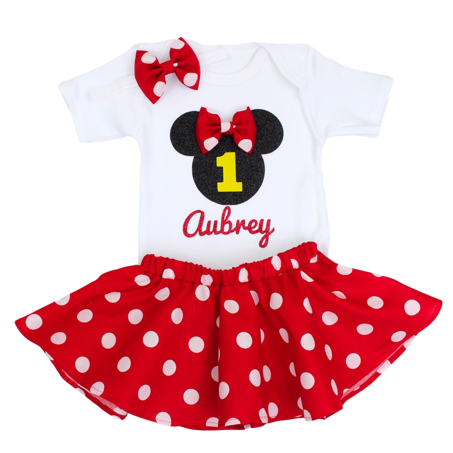 Birthday Party Outfit: Minnie Mouse Birthday Outfit Girls Birthday By OliveLovesApple