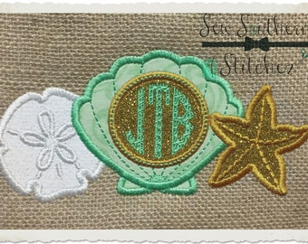 Shell Starfish Sand Dollar trio ~ Monogram Applique Design ~ Summer Made for Monogram Applique Design ~ Instant Download