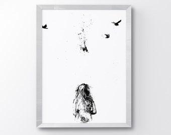 My Daddy Likes Hunting, Minimalist, Art Print, Hunting Birds, Little Girl Figure, Minimal Wall Art, Modern Home Decor, Wall Art, Black&White