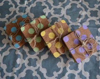 Polka Dot Cork Coasters