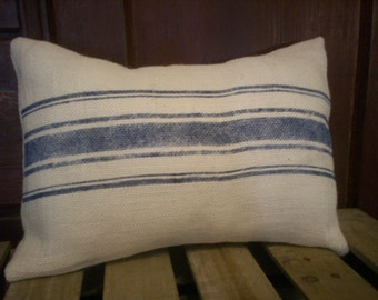 "Country French 12""x16"" French Linen Stripes White Burlap Pillow Cover"