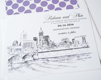 Indianapolis Wedding Save the Date Cards, Skyline Save the Dates (set of 25 cards and white envelopes)