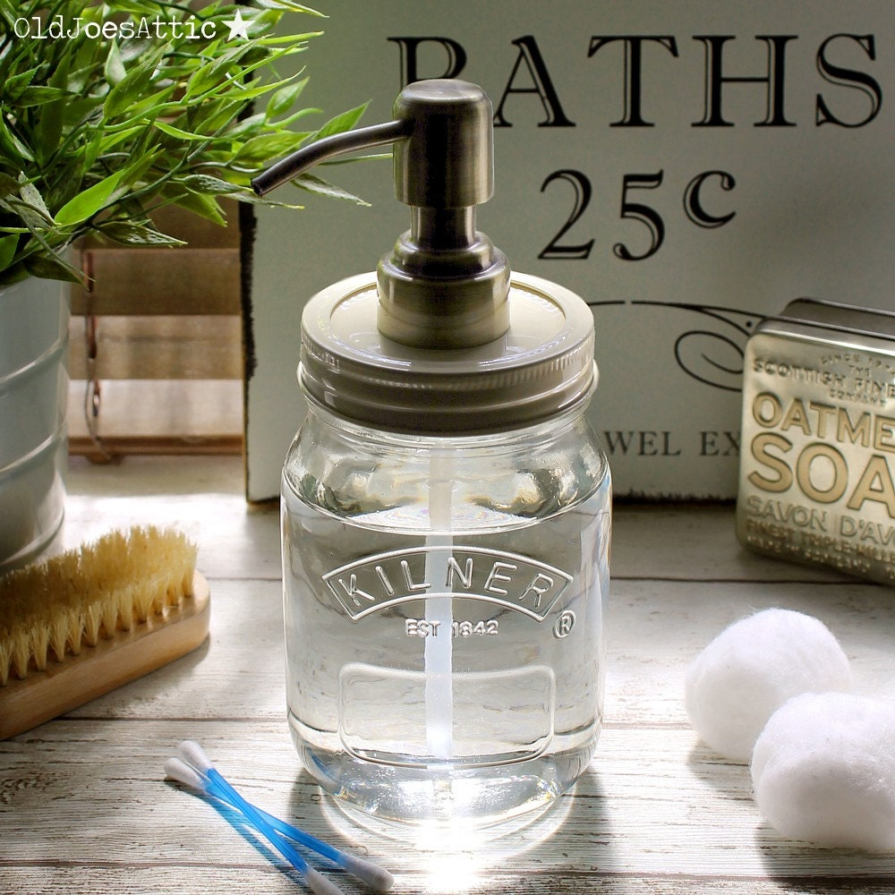 Kilner Country Style Glass Soap Dispenser Jar With Antique