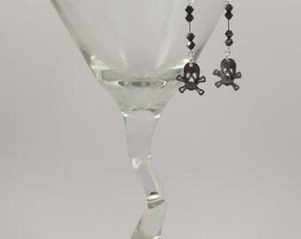 Skull and cross bones with Swarovski crystal earrings