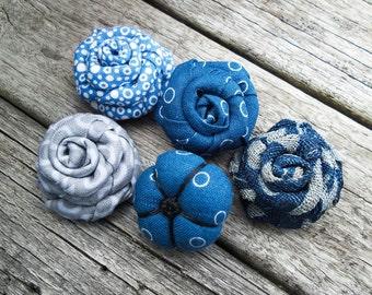 Blue Flower Lapel - Blue Rose Lapel - Fabric Lapel Flowers - Grey Lapel Flower - Rolled Flower Lapel - Men Lapel Flower - Men Lapel Button