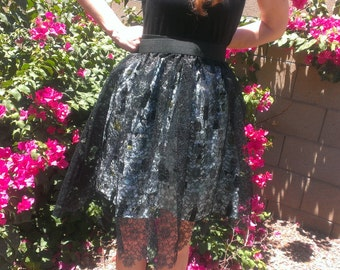 Black Lace Over Skirt