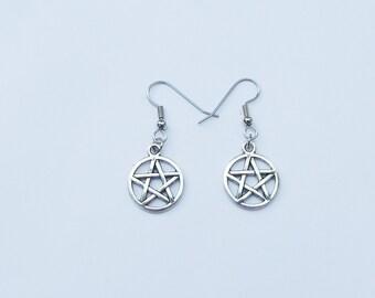 Pentagram Earrings, Pentacle Earrings, Silver Pentagram Earrings, Pentagram Charm, Pentacle Charm, Wiccan Earrings, Wiccan Jewelry, Pentacle