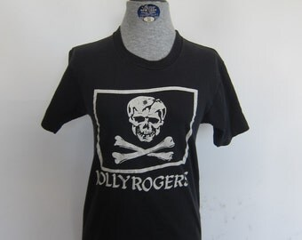 Vintage 80's Jolly Rogers USN Military T-shirt
