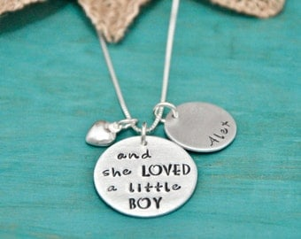 Necklace for Mom | and she LOVED a little BOY | hand stamped necklace | Personalized necklace | Gift for Mom