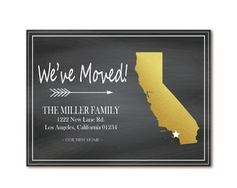California Chalkboard Moving Announcement - We've Moved - Gold State Map - Just Moved Invite - Printable