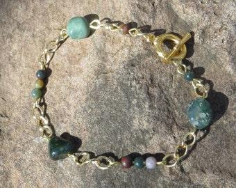 Natural Stone Bracelet, green bracelet, brown bracelet, gold bracelet, beaded bracelet, plus sized jewelry, gold chain bracelet