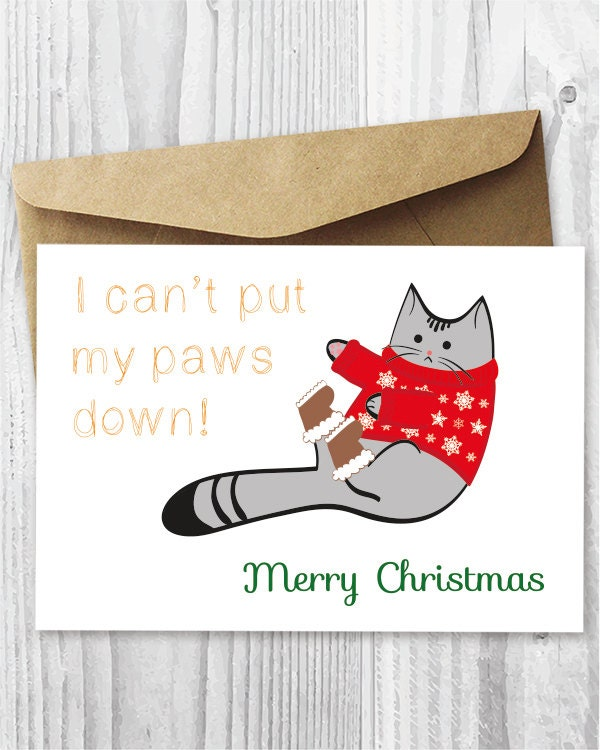 Printable Christmas Cat Card Funny Cat Christmas Cards
