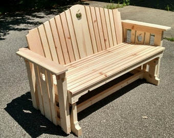 Handmade Wooden Porch Glider with Apple Design / Porch Swing / Wood bench / porch bench / patio furniture / deck furniture / park bench