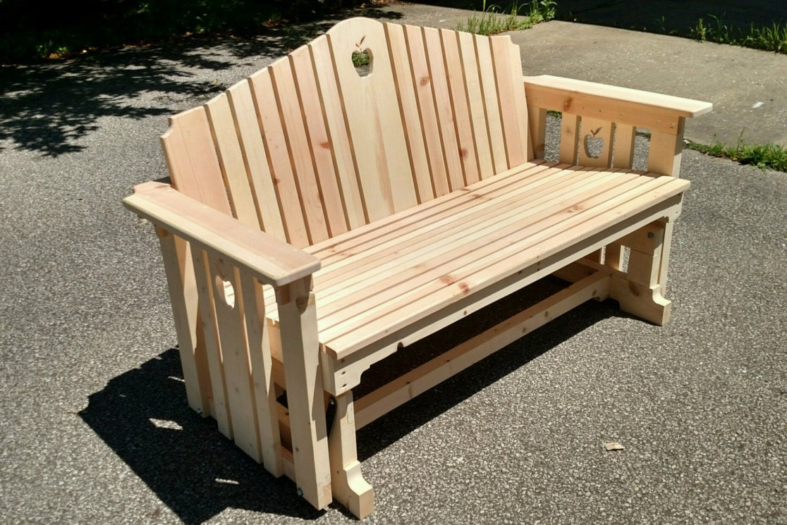 Backyard wooden swing chairs - Handmade Wooden Porch Glider With Apple Design Porch Swing Wood Bench Porch Bench Patio Furniture Deck Furniture Park Bench