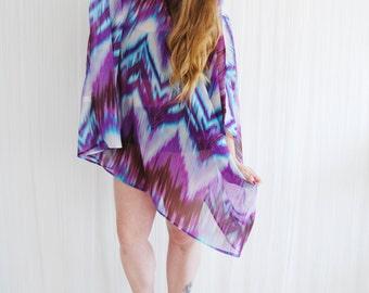 Purple bright kaftan beach dress