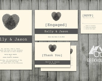 Modern Heart Thumbprint Wedding Package- Digital File
