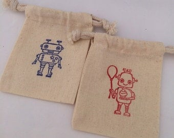 Robot Favor Bags: Muslin Bags With Red and Blue Robot Design, Robot Party Supplies