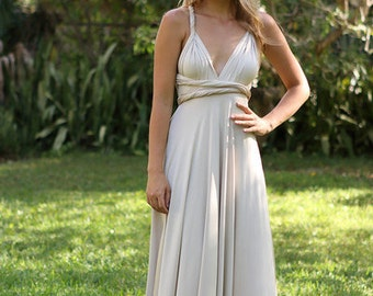 SALE PRICE/Convertible Dress/Bridesmaid Dress/Maxi/Maternity Gown/Champagne