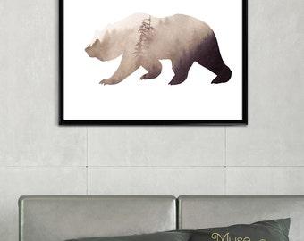 Bear, Wild Bear Art, Rustic Decor, Rustic Bear Print, Rustic Art, Rustic Wall Art, Rustic Wall Decor, Rustic Print, Bear Printable
