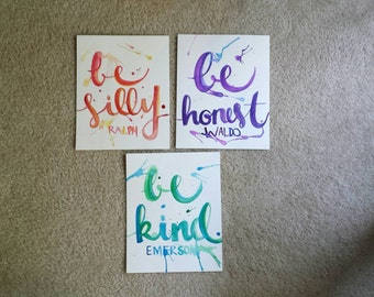 Be silly be honest be kind Hand Lettered Canvas Quote Art Set Various Sizes Home Decor Wall Hanging Painting Playroom Decor Watercolor