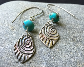 Fine Silver and Turquoise Earrings