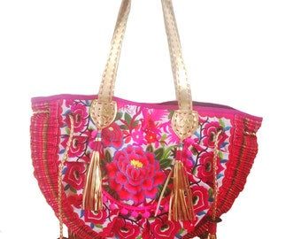 Pink Ibiza tribal tote with leather strap and tassels, festival bag,  boho bag, Beach bag