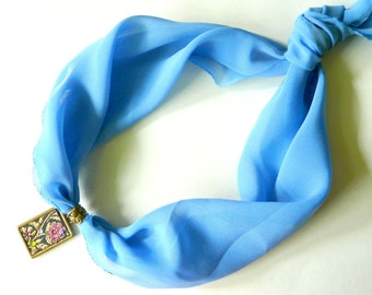 Blue Necklace, Bronze Pendant, Sky Blue Chiffon Scarf, Floral Pendant, Rectangular Pendant, Romantic pedant, Embroidery, Gently Necklace