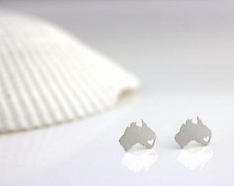 Australia Earrings, Silver Australia Studs, Any county earrings, I heart Australia, Aussie pride, Sydney