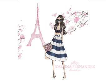 "Fashion illustration print, ""Printemps à Paris"", Fashion sketch. Fashion art. Paris decor. Paris print. Paris illustration. Eiffel tower art"