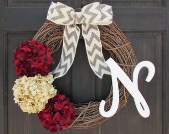 Monogram Valentine's Day Wreath, Holiday Door Wreath, Personalized Christmas Wreath, Initial Wreath for Christmas, Valentines Day Wreath