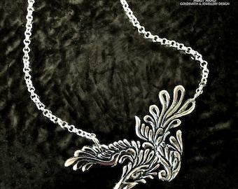 Dave Gahan phoenix tattoo sterling silver handmade pendant,music bird pendant,phoenix pendant,depeche mode pendant,Dave Gahan tattoo jewelry
