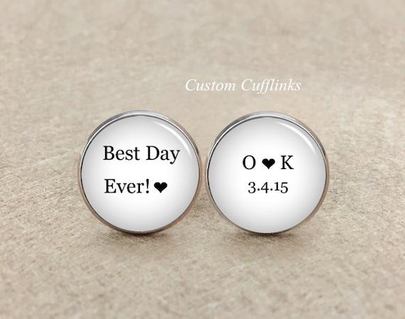 Best Wedding Gift Ever For Groom : Best Day Ever cufflinks, Custom Groom Cufflinks,Wedding Gift for Groom ...