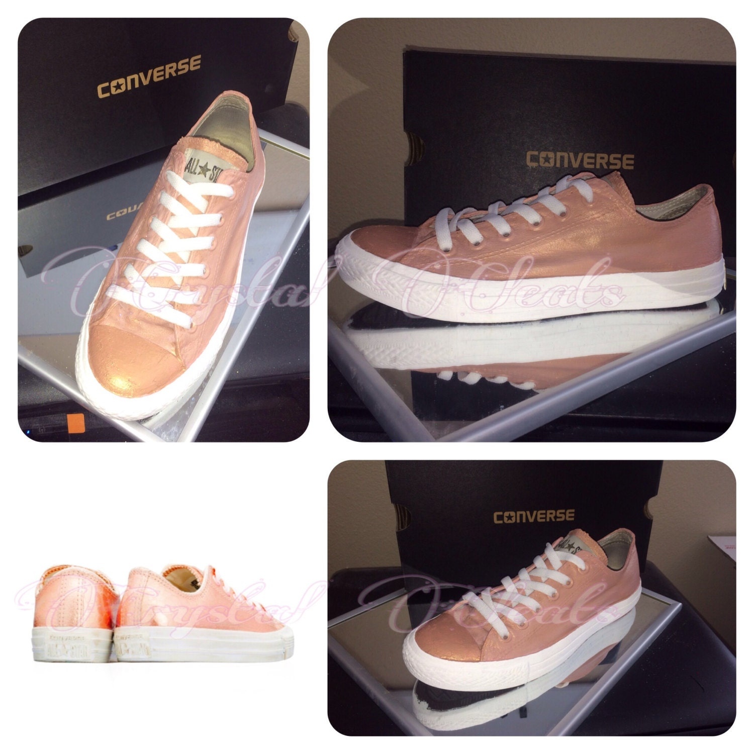 womens rose gold metallic converse all star by crystalcleatss. Black Bedroom Furniture Sets. Home Design Ideas