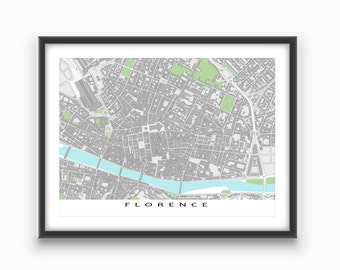 Florence Map, Florence Italy, Buildings, Firenze, Art Print Street Map