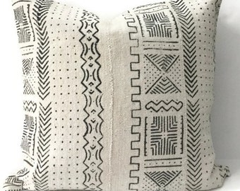 African Mudcloth Pillow Cover, Ethnic, Handwoven, Black and Cream, Tribal