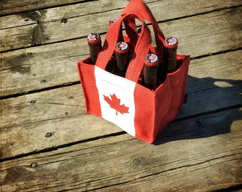 Pair of Two 6-Pack Beer Bottle Bag. Canadian Canada Day Unique Gift for Beer Lovers, Hockey Lovers, and Maple Leaf Lovers
