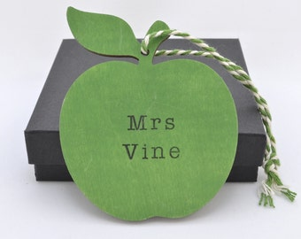 Thank You Gift - Personalised Wooden Teacher's Apple - Teacher Gift