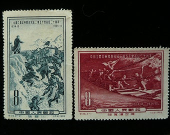 FREE SHIPPING Chinese Vintage postage stamps, Set of 2, year 1955,Red Army in march.