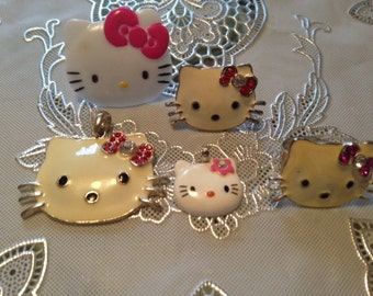 Vintage 1990's Hello Kitty Rhinestone and Enamel Sanrio Five Piece Jewelry Assortment