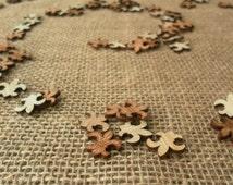 "100 Tiny ""Fleur de Lis"" 1/2"" ~ Cute Little Wooden Fleur de Lis! Rustic Wedding Table Confetti ~ Spring Wedding"