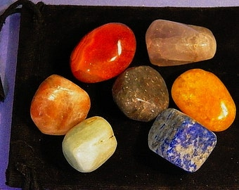 7 CHAKRA Stone HEALING CRYSTAL Set with Pouch, Reiki Energy Healing
