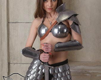 "Larp, Female Armor ,Fantasy, Cospaly Costume, Viking steel  armor for women, armor bracers  ""Heroine of Arena"""